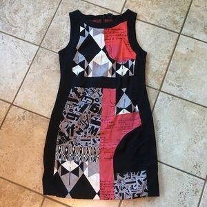 Desigual Black Dress with Red Grey Design
